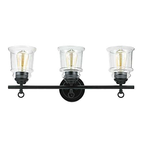 Stone Beam Modern Farmhouse Bathroom Wall Sconce Vanity Fixture With 3 Vintage Light Bulbs And Glass Shades 236 X 65 X 975 Inches Dark Bronze 0 4