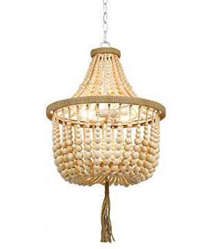 Stone Beam Modern Farmhouse Natural 2 Light Chandelier 24 H With Bulbs Real Wood Beads 0 0 300x360