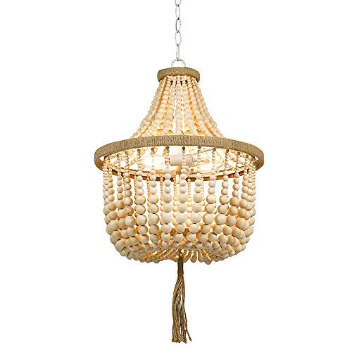 Stone Beam Modern Farmhouse Natural 2 Light Chandelier 24 H With Bulbs Real Wood Beads 0 0
