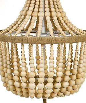 Stone Beam Modern Farmhouse Natural 2 Light Chandelier 24 H With Bulbs Real Wood Beads 0 1 300x360