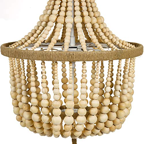 Stone Beam Modern Farmhouse Natural 2 Light Chandelier 24 H With Bulbs Real Wood Beads 0 1