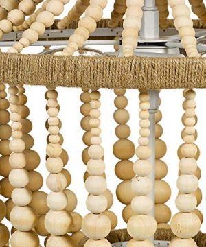Stone Beam Modern Farmhouse Natural 2 Light Chandelier 24 H With Bulbs Real Wood Beads 0 2 300x360