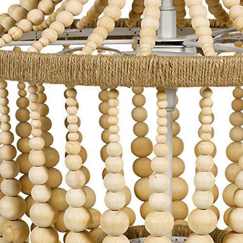 Stone Beam Modern Farmhouse Natural 2 Light Chandelier 24 H With Bulbs Real Wood Beads 0 2