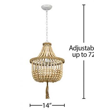 Stone Beam Modern Farmhouse Natural 2 Light Chandelier 24 H With Bulbs Real Wood Beads 0 3 300x360