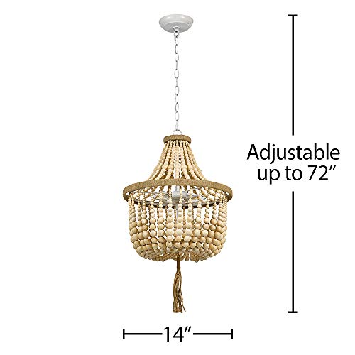 Stone Beam Modern Farmhouse Natural 2 Light Chandelier 24 H With Bulbs Real Wood Beads 0 3