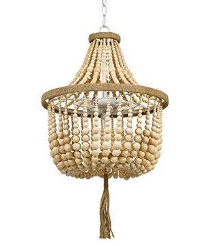 Stone Beam Modern Farmhouse Natural 2 Light Chandelier 24 H With Bulbs Real Wood Beads 0 300x360