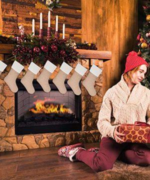 Sunshane 7 Pieces Burlap Christmas Stockings Xmas Fireplace Hanging Stockings Decoration Stockings For Christmas Decoration DIY Craft Flaxen 0 1 300x360