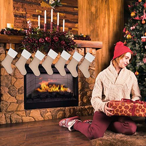 Sunshane 7 Pieces Burlap Christmas Stockings Xmas Fireplace Hanging Stockings Decoration Stockings For Christmas Decoration DIY Craft Flaxen 0 1