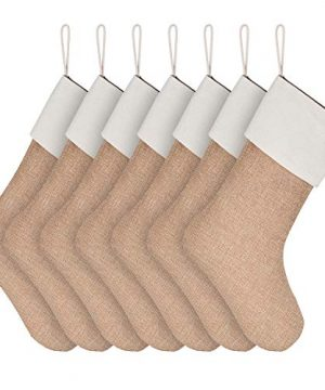 Sunshane 7 Pieces Burlap Christmas Stockings Xmas Fireplace Hanging Stockings Decoration Stockings For Christmas Decoration DIY Craft Flaxen 0 300x360