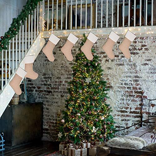 Sunshane 7 Pieces Burlap Christmas Stockings Xmas Fireplace Hanging Stockings Decoration Stockings For Christmas Decoration DIY Craft Flaxen 0 5
