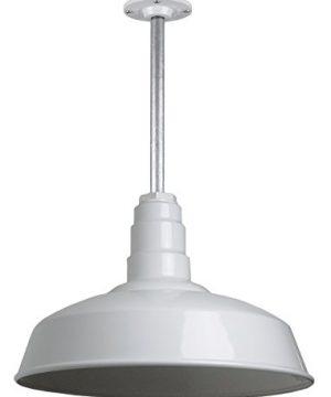 The Carson Modern Farmhouse Pendant Light Steel Barn Light With Rigid Stem For Ceiling Heavy Duty Steel Light Made In America Strong Industrial Lighting White 0 300x360