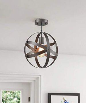 Truelite Industrial Metal Spherical Pendant Displays Changeable Hanging Lighting Fixture 0 0 300x360