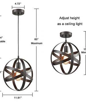 Truelite Industrial Metal Spherical Pendant Displays Changeable Hanging Lighting Fixture 0 3 300x360