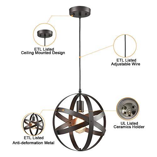 Truelite Industrial Metal Spherical Pendant Displays Changeable Hanging Lighting Fixture 0 4