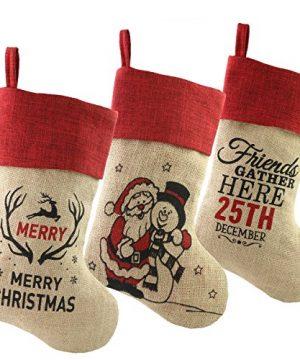 WEWILL 18 Burlap Christmas Stockings Set Of 3 Vintage Printed Santa Claus Snowman Gather Xmas Stocking Gift Home Holiday Decoration 0 3 300x360