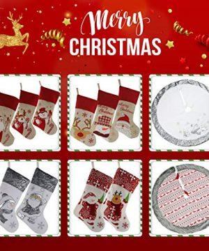 WEWILL 18 Burlap Christmas Stockings Set Of 3 Vintage Printed Santa Claus Snowman Gather Xmas Stocking Gift Home Holiday Decoration 0 4 300x360