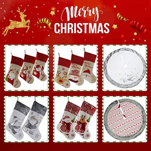 WEWILL 18 Burlap Christmas Stockings Set Of 3 Vintage Printed Santa Claus Snowman Gather Xmas Stocking Gift Home Holiday Decoration 0 4