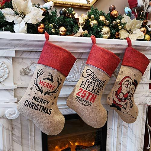 WEWILL 18 Burlap Christmas Stockings Set Of 3 Vintage Printed Santa Claus Snowman Gather Xmas Stocking Gift Home Holiday Decoration 0