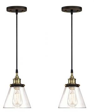 WISBEAM Pendant Lighting Fixture With Oil Rubbed Bronze And Brass Finish Hanging Lights With One Medium Base Max 60 Watts ETL Rated 2 Pack 0 300x360