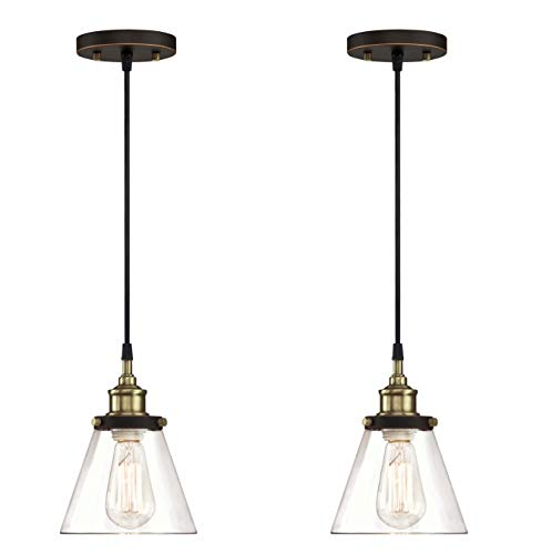 promo code 7aca2 6d2af WISBEAM Pendant Lighting Fixture with Oil Rubbed Bronze and Brass Finish,  Hanging Lights with One Medium Base Max. 60 Watts, ETL Rated, Bulbs not ...