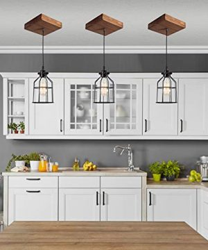 West Ninth Vintage Single Wood Pendant Light Farmhouse Accent Light Early American Stain Black Cage 0 0 300x360
