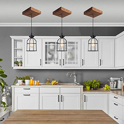 West Ninth Vintage Single Wood Pendant Light Farmhouse Accent Light Early American Stain Black Cage 0 0
