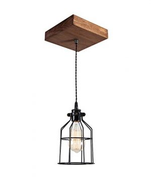 West Ninth Vintage Single Wood Pendant Light Farmhouse Accent Light Early American Stain Black Cage 0 300x360
