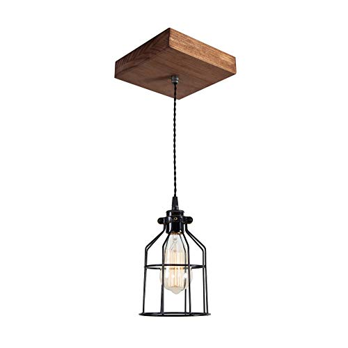 West Ninth Vintage Single Wood Pendant Light Farmhouse Accent Light Early American Stain Black Cage 0