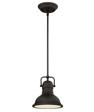 Westinghouse Lighting 63082A Boswell One Light LED Indoor Mini Pendant Oil Rubbed Bronze Finish With Highlights And Frosted Prismatic Lens 0 300x360