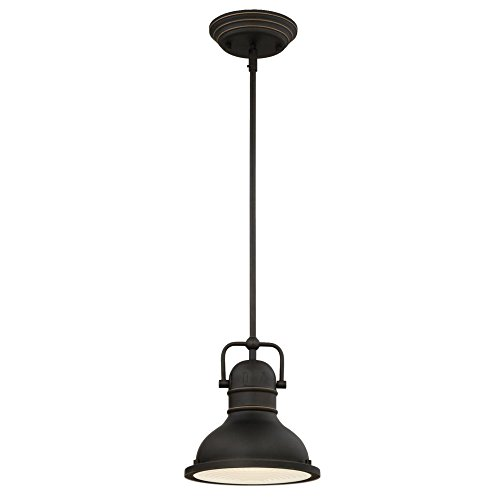 Westinghouse Lighting 63082A Boswell One Light LED Indoor Mini Pendant Oil Rubbed Bronze Finish With Highlights And Frosted Prismatic Lens 0
