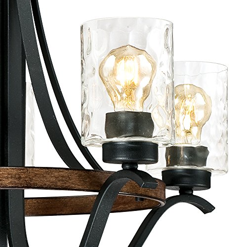 Westinghouse Lighting 6331900 Barnwell Five Light Indoor Chandelier Textured Iron And Barnwood Finish With Clear Hammered Glass 5 0 0
