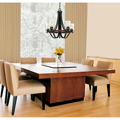 Westinghouse Lighting 6331900 Barnwell Five Light Indoor Chandelier Textured Iron And Barnwood Finish With Clear Hammered Glass 5 0 2