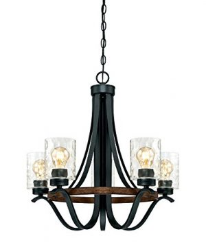 Westinghouse Lighting 6331900 Barnwell Five Light Indoor Chandelier Textured Iron And Barnwood Finish With Clear Hammered Gl 5