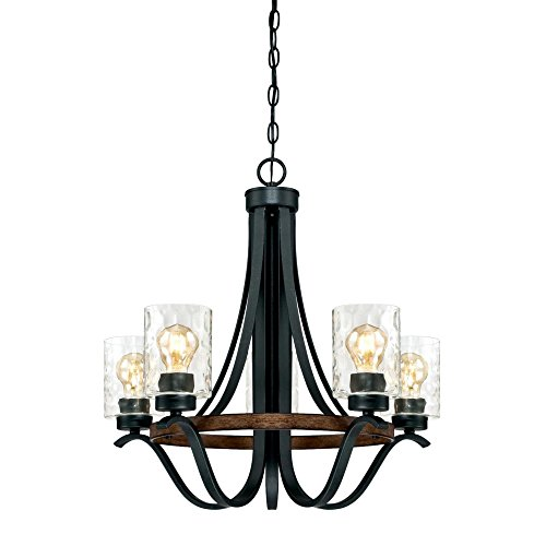 Westinghouse Lighting 6331900 Barnwell Five Light Indoor Chandelier Textured Iron And Barnwood Finish With Clear Hammered Glass 5 0