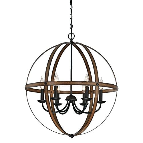 Westinghouse Lighting 6333600 Stella Mira Six Light Indoor Chandelier Barnwood And Oil Rubbed Bronze Finish 0