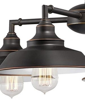 Westinghouse Lighting 6343300 Iron Hill Four Light Indoor Convertible ChandelierSemi Flush Ceiling Fixture Oil Rubbed Bronze Finish With Highlights And Metal Shades White Interior 0 1 300x360