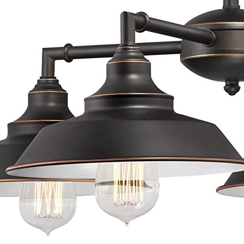 Westinghouse Lighting 6343300 Iron Hill Four Light Indoor Convertible ChandelierSemi Flush Ceiling Fixture Oil Rubbed Bronze Finish With Highlights And Metal Shades White Interior 0 1