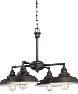 Westinghouse Lighting 6343300 Iron Hill Four Light Indoor Convertible Chandelier Semi Flush Ceiling Fixture Oil Rubbed Bronze Finish With Highlights
