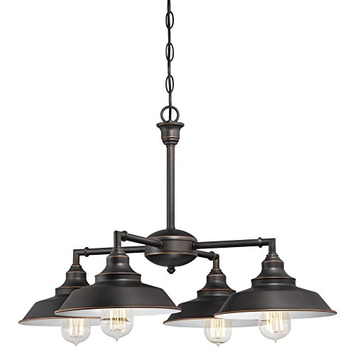 Westinghouse Lighting 6343300 Iron Hill Four Light Indoor Convertible ChandelierSemi Flush Ceiling Fixture Oil Rubbed Bronze Finish With Highlights And Metal Shades White Interior 0