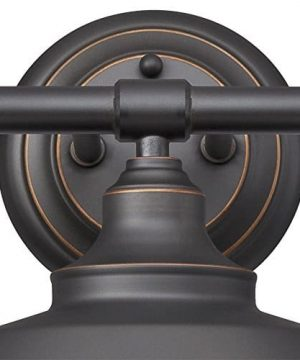 Westinghouse Lighting 6343400 Iron Hill Three Light Indoor Wall Fixture Oil Rubbed Bronze Finish With Highlights And Metal Shades 3 White Interior 0 0 300x360