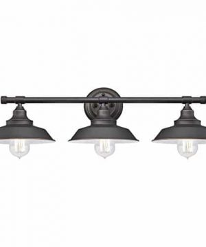 Westinghouse Lighting 6343400 Iron Hill Three Light Indoor Wall Fixture Oil Rubbed Bronze Finish With Highlights And Metal Shades 3 White Interior 0 300x360