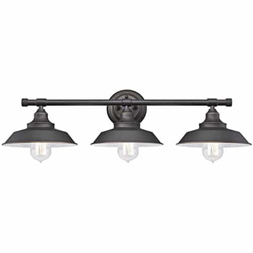 Westinghouse Lighting 6343400 Iron Hill Three Light Indoor Wall Fixture Oil Rubbed Bronze Finish With Highlights And Metal Shades 3 White Interior 0