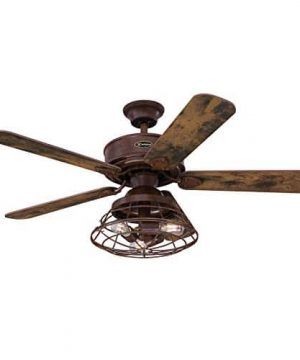 Westinghouse Lighting 7220500 Barnett 48 Inch Barnwood Indoor Dimmable LED Light Kit With Cage Shade Remote Control Included Ceiling Fan 0 300x360