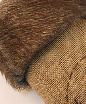Wishdiam Burlap Christmas Stockings With Brown Faux Fur Cuff For Xmas Holiday Party Decorations Gift 20 Inch One Piece 0 0 300x360