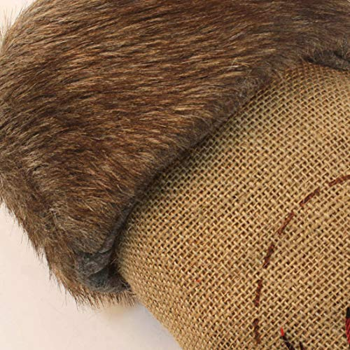 Wishdiam Burlap Christmas Stockings With Brown Faux Fur Cuff For Xmas Holiday Party Decorations Gift 20 Inch One Piece 0 0