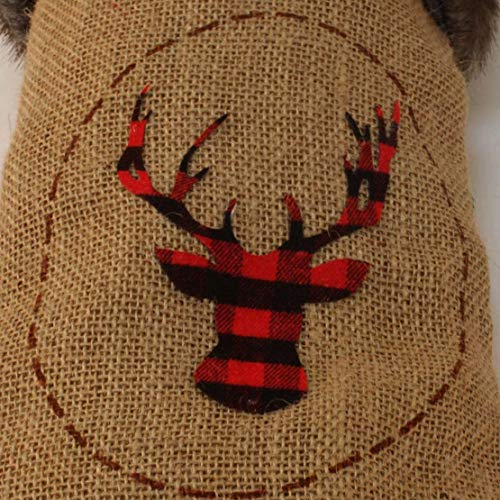 Wishdiam Burlap Christmas Stockings With Brown Faux Fur Cuff For Xmas Holiday Party Decorations Gift 20 Inch One Piece 0 1