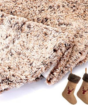 Wishdiam Burlap Christmas Stockings With Brown Faux Fur Cuff For Xmas Holiday Party Decorations Gift 20 Inch One Piece 0 3 300x360