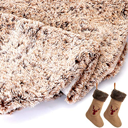 Wishdiam Burlap Christmas Stockings With Brown Faux Fur Cuff For Xmas Holiday Party Decorations Gift 20 Inch One Piece 0 3