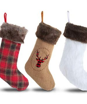 Wishdiam Burlap Christmas Stockings With Brown Faux Fur Cuff For Xmas Holiday Party Decorations Gift 20 Inch One Piece 0 4 300x360