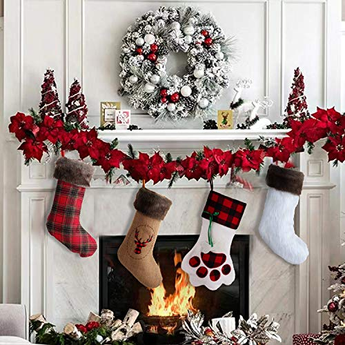 Wishdiam Burlap Christmas Stockings With Brown Faux Fur Cuff For Xmas Holiday Party Decorations Gift 20 Inch One Piece 0 5